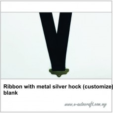 Ribbon with metal silver hock (customize) blank