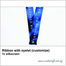 Ribbon with eyelet (customize) 1c silkscreen